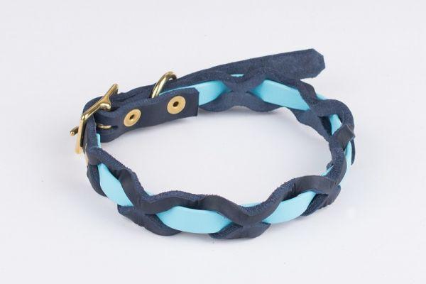 """Bellepet Halsband """"Braidy Farbrausch"""" Chrom mit blauem Leder"""