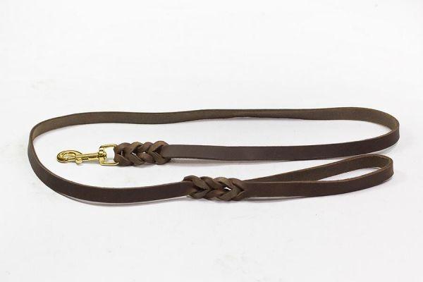 Bellepet Fettlederleine extra breit - 1,50m mit Handschlaufe - Messing