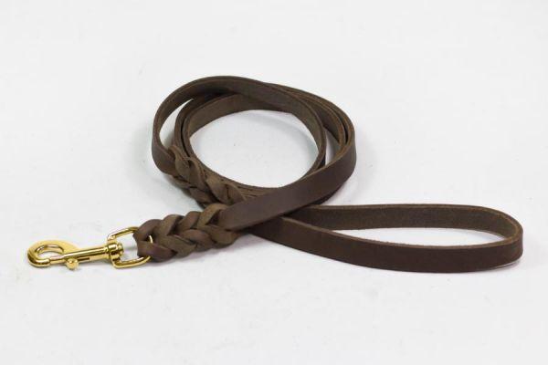 Bellepet Fettlederleine extra breit - 3m mit Handschlaufe - Messing