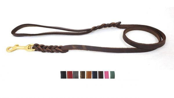 Bellepet Fettlederleine 1,35m mit Handschlaufe - Messing