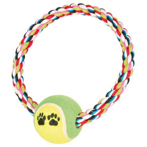 Trixie - Denta Fun Tauring mit Tennisball