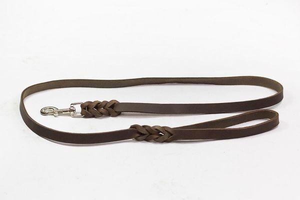 Bellepet Fettlederleine extra breit - 1,50m mit Handschlaufe - Chrom