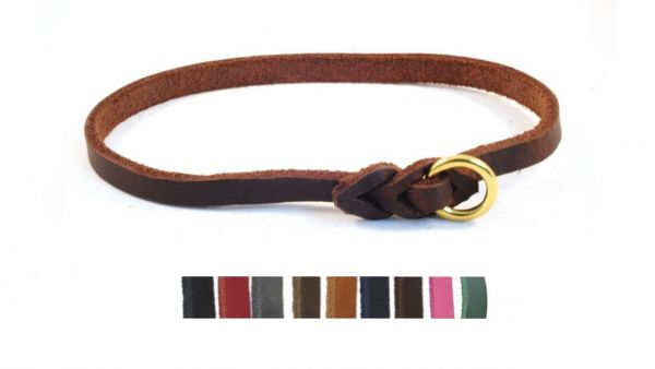 Bellepet - leichtes Halsband aus Fettleder für große Hunde - Messing