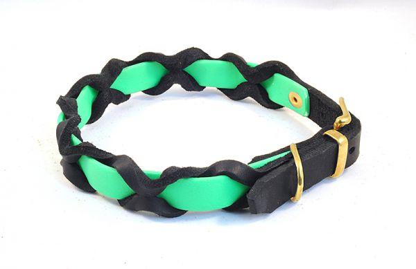 """Bellepet Halsband """"Braidy Farbrausch"""" Messing mit schwarzem Leder"""