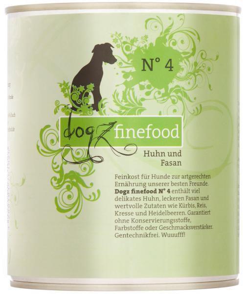 Dogz finefood No. 4 Huhn & Fasan 800g