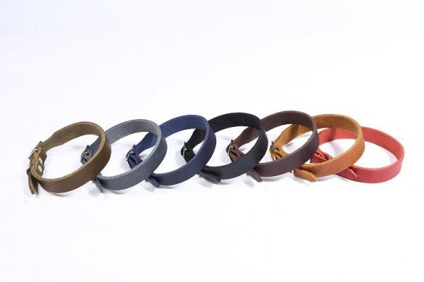 """Bellepet Fettleder-Halsband """"Pure Basic"""" - Messing"""
