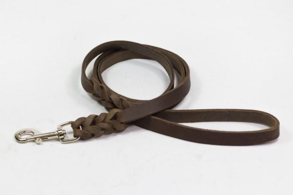 Bellepet Fettlederleine extra breit - 3m mit Handschlaufe - Edelstahl