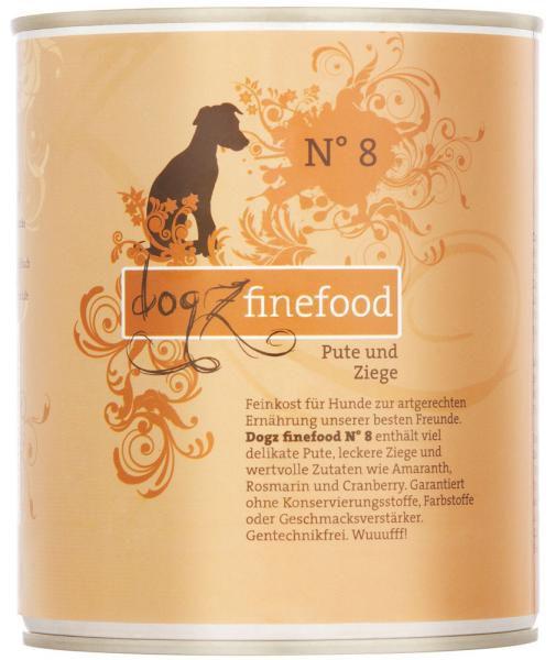 Dogz finefood No. 8 Pute & Ziege 800g