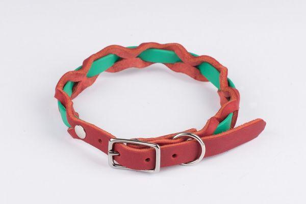 """Bellepet Halsband """"Braidy Farbrausch"""" Chrom mit rotem Leder"""