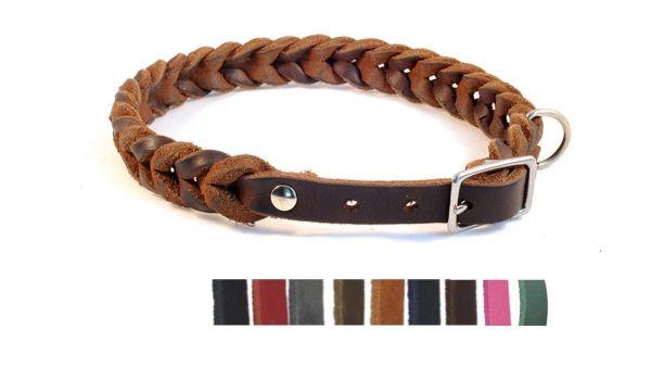 """Bellepet Fettleder-Halsband geflochten """"Braidy"""" mit Schnalle - Chrom"""