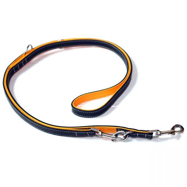Wolters Verstellbare Hundeleine Terranova Fettleder schwarz orange 200cm x 15mm